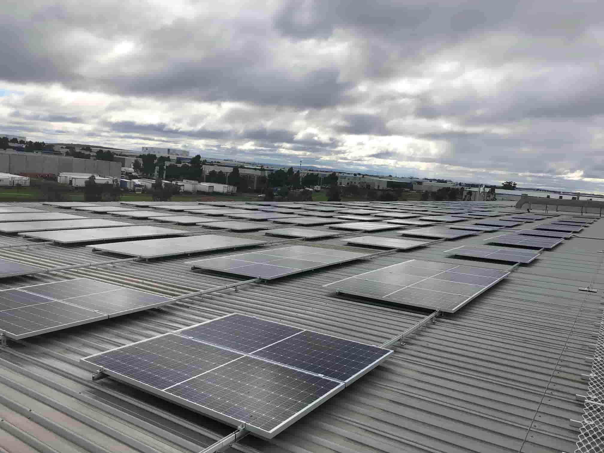 A view of CHEP Australia's solar energy panels