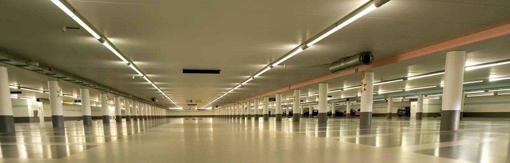 Lighting in an empty underground car park