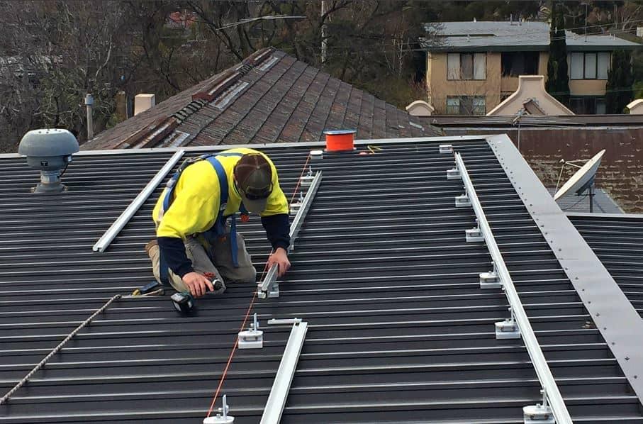 Tradie installing solar